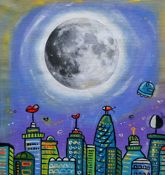 Moonlight London, original acrylic painting